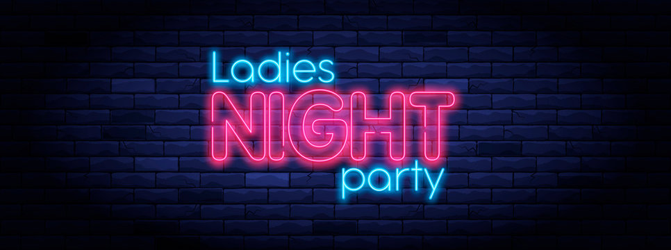 Ladies night party neon banner