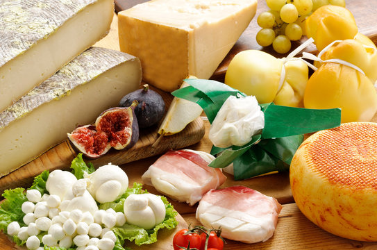 Varietà di formaggi, ambientazione di latticini