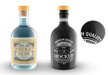 Clear and Black Glass Liquor Bottle Mockup