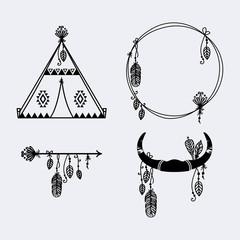 Beautiful set of boho illustrations vector