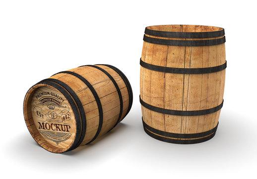 Wooden Barrel Mockup
