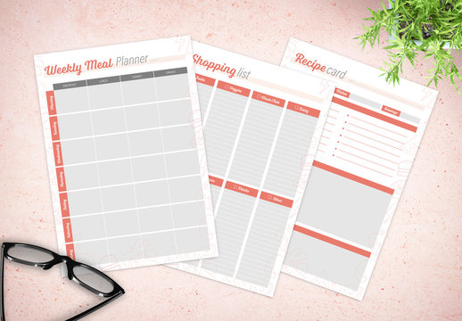 Weekly Meal Plan Layout Kit with Orange Accents and Food Illustrations