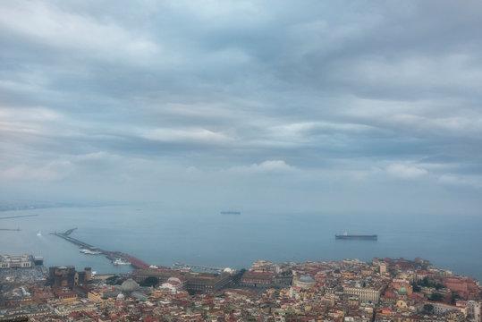Cargo ships near Naples port, Naples bay (Napoli bay), Italy