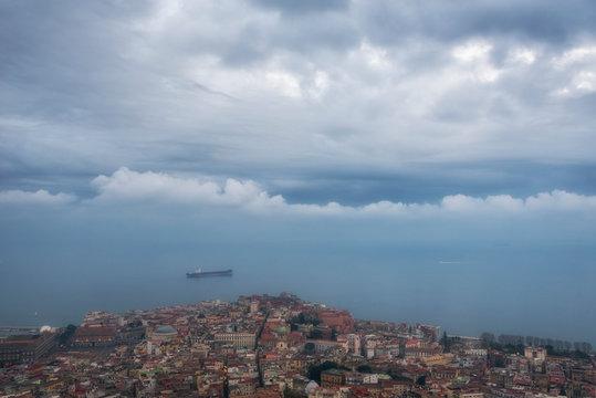Cargo ship near Naples city, Naples bay (Napoli bay), Italy