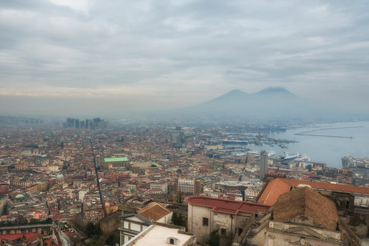 Dawn sky under Naples city, Naples bay (Napoli bay), Italy