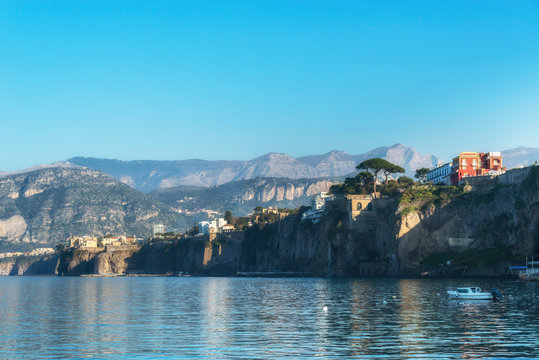 Aerial view of Sorrento, Amalfi coast, Naples bay (Napoli bay), Italy