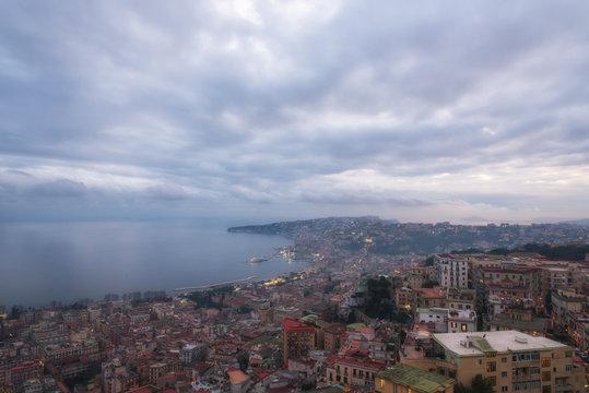 Dramatic sky under Naples city, Naples bay (Napoli bay), Italy