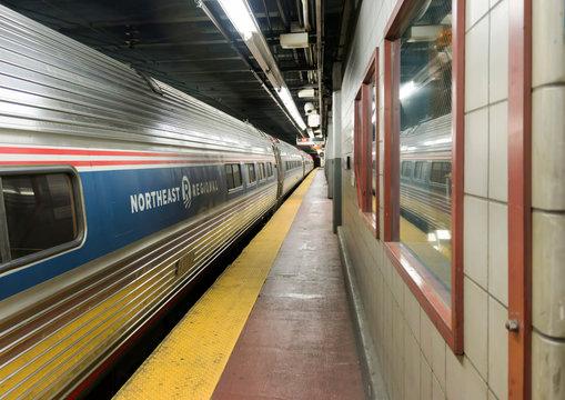 Amtrak Northeast Regional Train leaving Penn Station New York