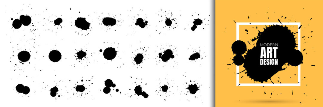 Vector illustration. Set of ink splatters, paint splashes. Dirty artistic shapes for design boxes, frames. Element for design invitations, gift card, flyer, social media, cover, poster, website
