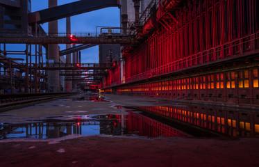illuminated steelworks at night