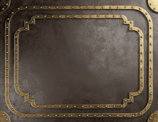 Steampunk empty metal plaque with brass border.
