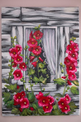acrylic paintig, window of old hause and red flowers