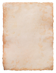 Old paper sheet isolated on white background. Clipping path included.