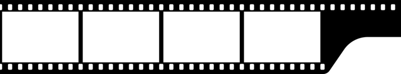 Black and white camera film template. Vector illustration.