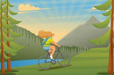 Girl on a cycling, riding a bike in the woods. Outdoor recreation. Flat 2D character. Vector illustration