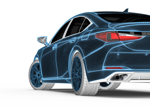 3D rendering representing an x-ray of a car