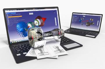3D rendering representing a computer aided design. Data, fiber