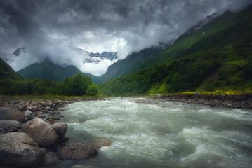 Aluminium Prints New Zealand Beautiful rapid river flowing in the morning light, misty, summer season