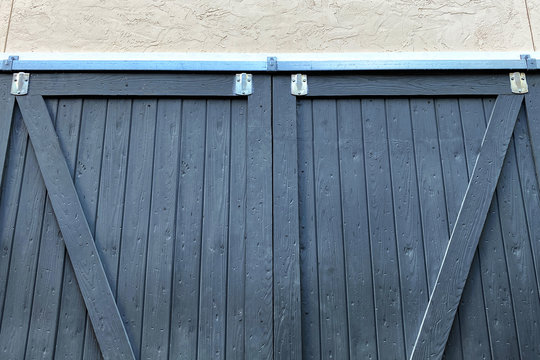 blue farm barn sliding doors