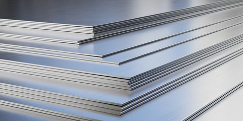 Steel sheets in warehouse, rolled metal product.