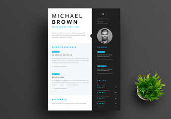 Resume Layout with Dark Gray Sidebar and Bright Blue Accents