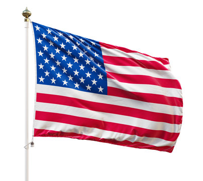 USA flag on the white background, isolated with clipping path. 3D illustration.