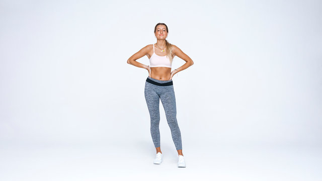 Woman athlete in workout clothes