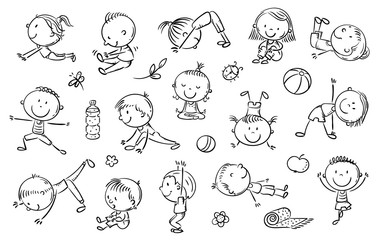Wall Mural - Yoga kids set, vector cliparts, doodle drawings