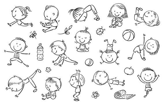 Yoga kids set, vector cliparts, doodle drawings