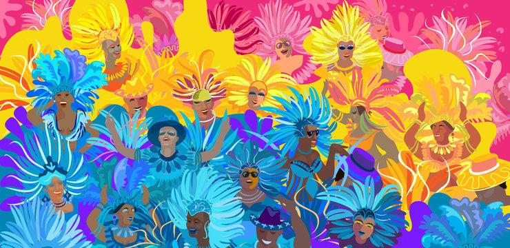2020 Abstract Rio Brazilian Carnival music dance festival night party Samba dancer parade Sambadrome, New Orleans, Mardi Gras, notting hill, Venezia costume exotic tropical palm leaves set vector