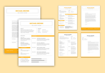 Resume Layout with Orange Accents