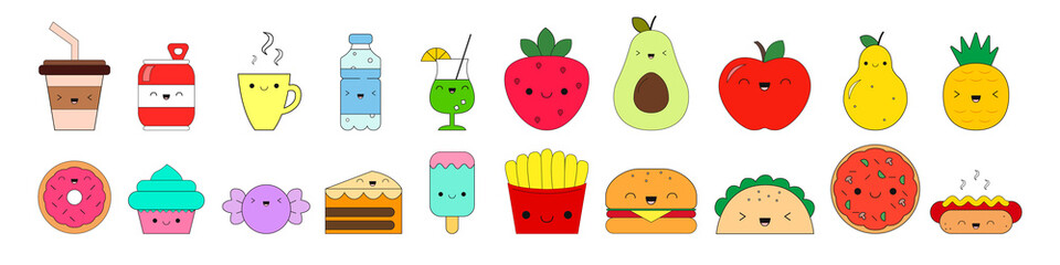 Food icons. Kawaii style. Set. Funny cartoon food with facial expression and emotions. Collection. Vector illustration