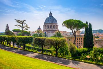 Rome, Vatican City, Italy - Panoramic view of St. Peter's Basilica - Basilica di San Pietro in Vaticano - main dome by Michelangelo Buonarotti seen from the Vatican Gardens in the Vatican City State