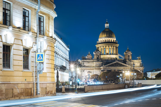 Voznesensky Avenue and exterior of St. Isaac's Cathedral at night, St. Petersburg, Leningrad Oblast, Russia