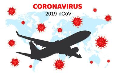 Dangerous chinese coronavirus. Wuhan Novel coronavirus 2019-nCoV. Airplane flying. Pandemic medical health risk. Vector illustration