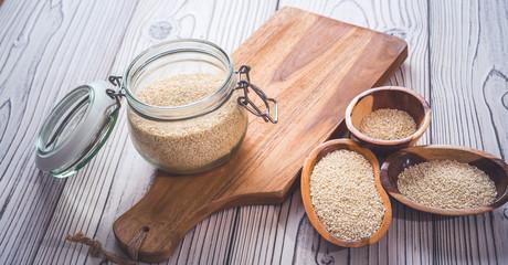 Fototapeta Sesame seeds isolated in bowls obraz