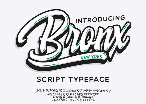 Bronx. New York City print. Hand made script font. Stylish badge for stickers or prints on clothes.