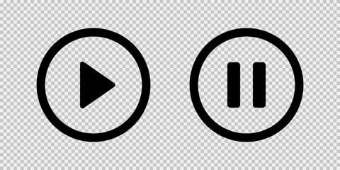 Play and pause vector button black icons isolated on transparent background. Black vector media play pause icons or sign symbols.