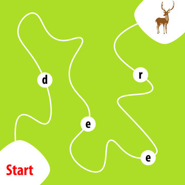 Education logic game for kids. Find right way. Collect the word deer.