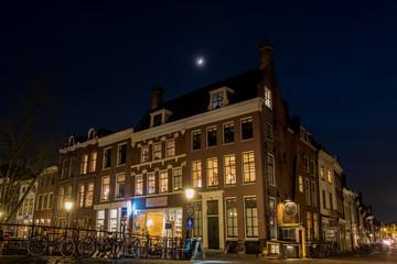 Keuken foto achterwand Brussel Corner houses at night in Utrecht