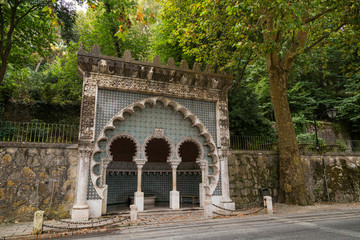 Moorish style ornate Fonte Mourisca Spring near Sintra's old town in Portugal.