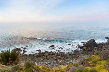Rocky shoreline where the coastal vegetation of Big Sur meets the Pacific Ocean in California.