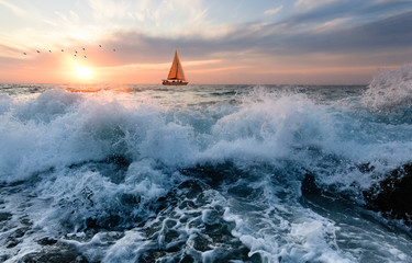 Wall Mural - Ocean Sunset Sailboat