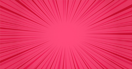 Printed roller blinds Pop Art Bright pink retro comic speech background with halftone hearts effect. Lovely red texture with heart shapes shadow and stripes in pop art style for St. Valentines day greeting cards design, banner