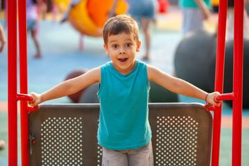 emotional little boy on a swing in the park