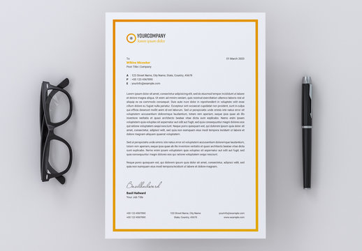 Letterhead Layout with Orange Gradient Accents