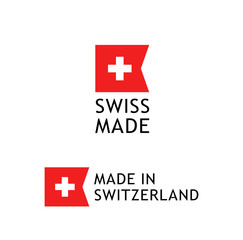 Swiss Made label, sticker with Swiss National Flag on white background. Made in Switzerland warranty sign.