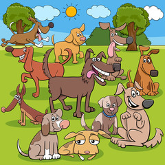 cartoon dogs characters group in the park