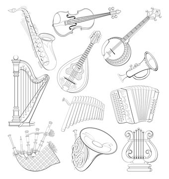 Set of different wind and stringed musical instruments. Black and white page for coloring book. Printable worksheet for children school textbook. Hand-drawn vector image.