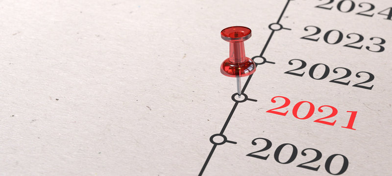 2021 - Rote Pinnadel auf Zeitleiste